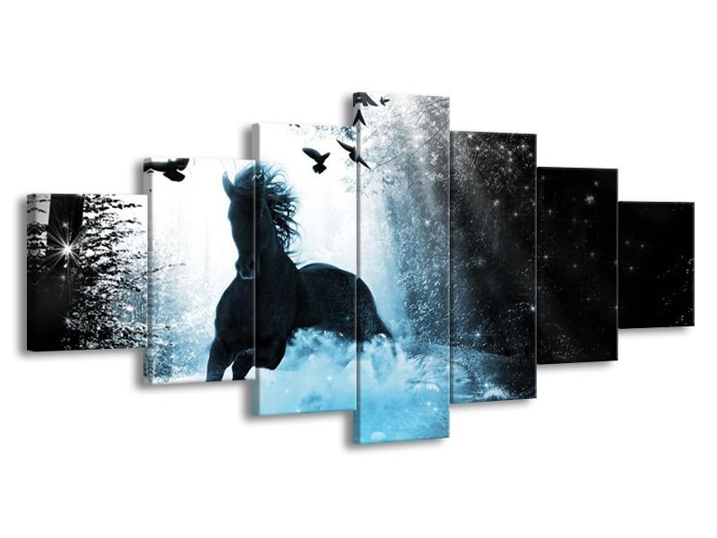 Glasschilderij Paard, Modern | Blauw, Zwart, Wit | 210x100cm 7Luik