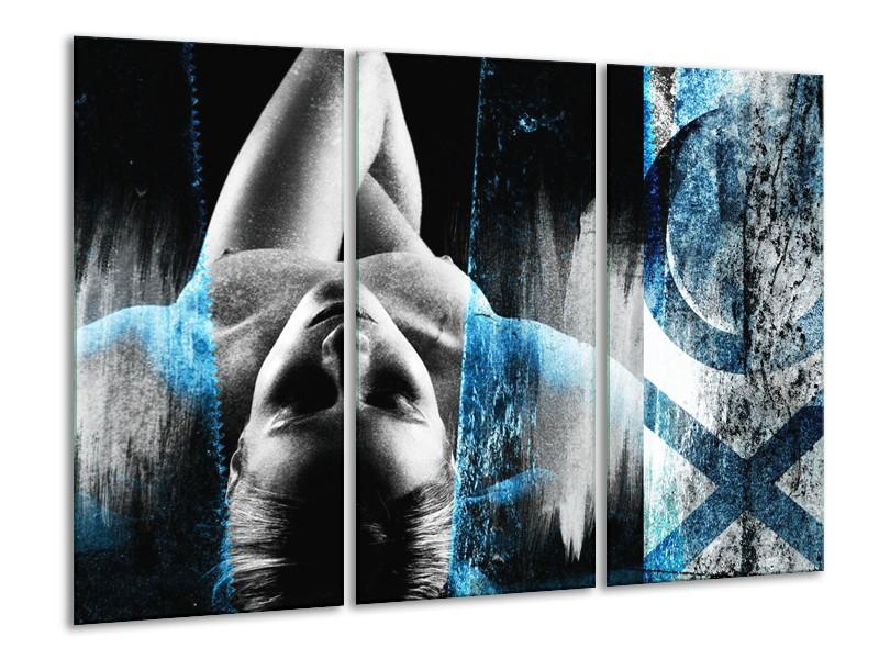 Canvas Schilderij Vrouw, Kunst | Grijs, Blauw | 120x80cm 3Luik