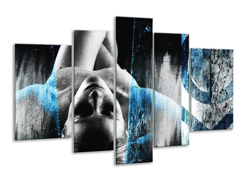 Glasschilderij Vrouw, Kunst | Grijs, Blauw | 170x100cm 5Luik