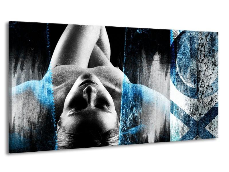 Canvas Schilderij Vrouw, Kunst | Grijs, Blauw | 170x90cm 1Luik