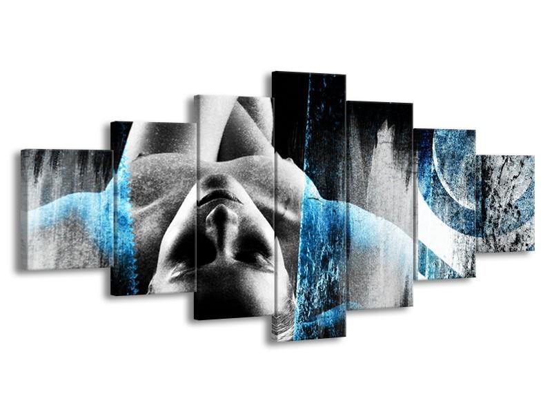 Glasschilderij Vrouw, Kunst | Grijs, Blauw | 210x100cm 7Luik
