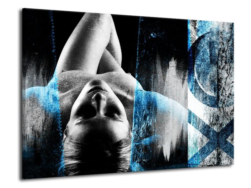 Canvas Schilderij Vrouw, Kunst | Grijs, Blauw | 70x50cm 1Luik