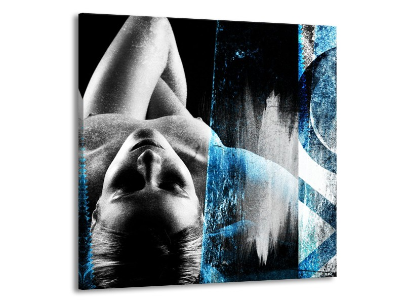 Canvas Schilderij Vrouw, Kunst | Grijs, Blauw | 70x70cm 1Luik