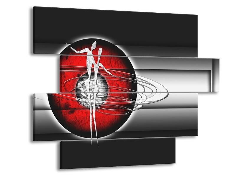 Glasschilderij Abstract, Modern   Zwart, Wit, Rood   115x85cm 4Luik