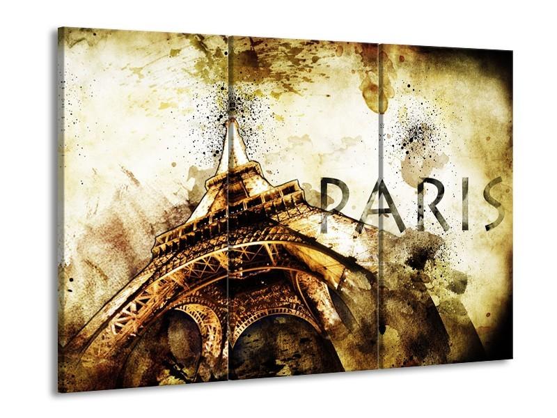 Canvas Schilderij Parijs, Eiffeltoren   Bruin, Zwart, Geel   60x90cm 3Luik