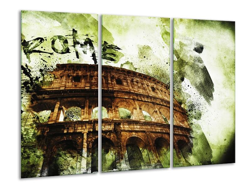 Canvas Schilderij Italie, Rome   Groen, Bruin   120x80cm 3Luik