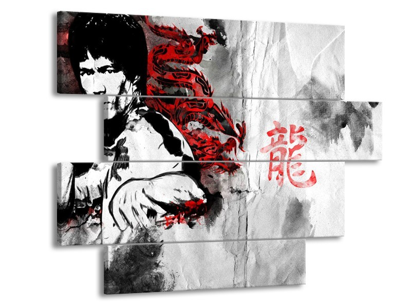 Canvas Schilderij Bruce Lee, Sport | Zwart, Wit, Rood | 115x85cm 4Luik