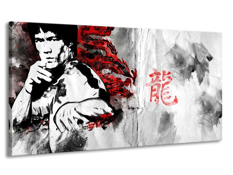 Canvas Schilderij Bruce Lee, Sport | Zwart, Wit, Rood | 170x90cm 1Luik