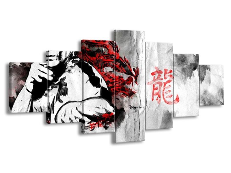 Glasschilderij Bruce Lee, Sport   Zwart, Wit, Rood   210x100cm 7Luik