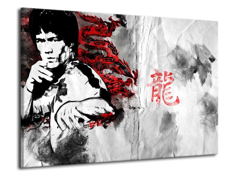 Canvas Schilderij Bruce Lee, Sport   Zwart, Wit, Rood   70x50cm 1Luik