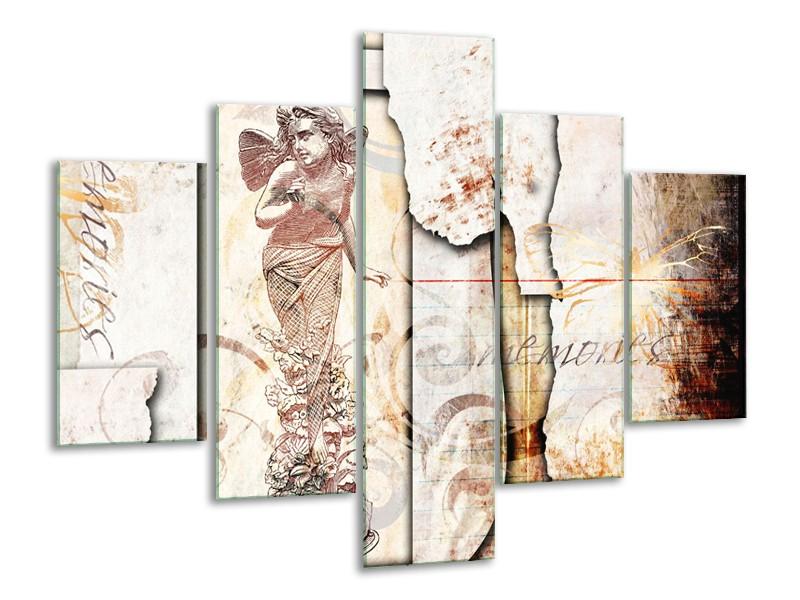 Canvas Schilderij Design, Engel   Crème, Oranje, Bruin   100x70cm 5Luik