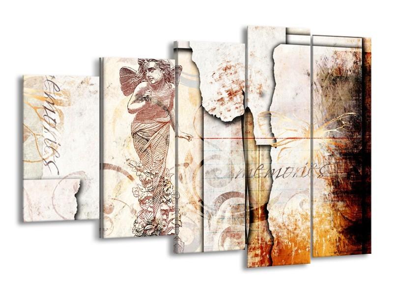 Canvas Schilderij Design, Engel   Crème, Oranje, Bruin   150x100cm 5Luik