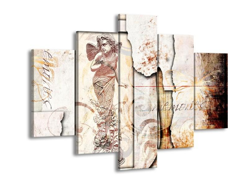 Canvas Schilderij Design, Engel   Crème, Oranje, Bruin   150x105cm 5Luik