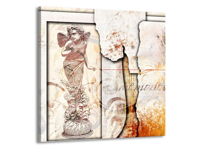 Glasschilderij Design, Engel | Crème , Oranje, Bruin | 70x70cm 1Luik