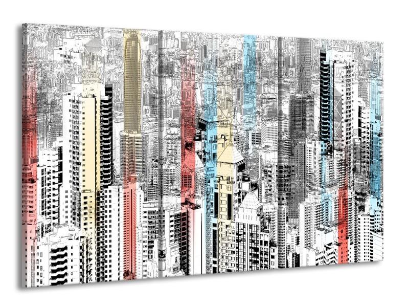 Canvas Schilderij Modern, Steden | Zwart, Wit | 165x100cm 3Luik