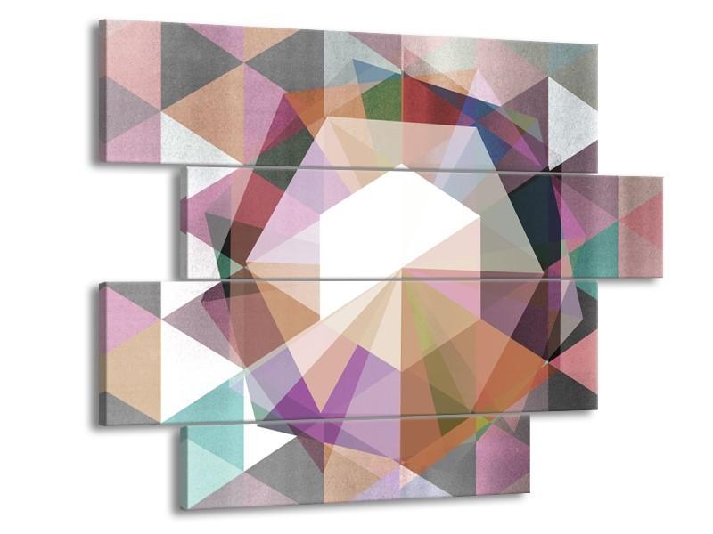 Canvas Schilderij Design   Paars, Grijs   115x85cm 4Luik