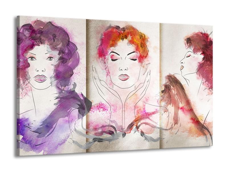 Canvas Schilderij Vrouwen   Crème, Paars, Roze   140x90cm 1Luik