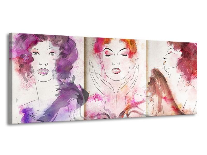 Canvas Schilderij Vrouwen   Crème, Paars, Roze   145x58cm 1Luik