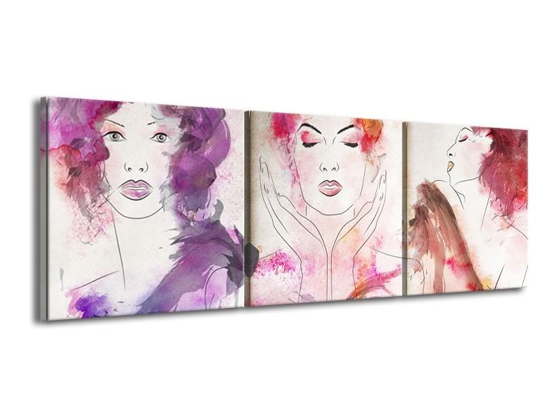 Canvas Schilderij Vrouwen   Crème, Paars, Roze   150x50cm 3Luik