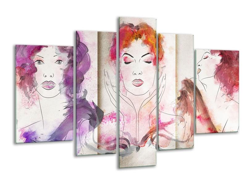 Canvas Schilderij Vrouwen   Crème, Paars, Roze   170x100cm 5Luik