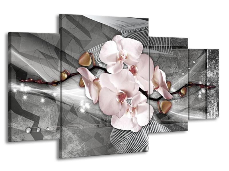 Glasschilderij Orchidee, Bloemen | Grijs | 160x90cm 4Luik