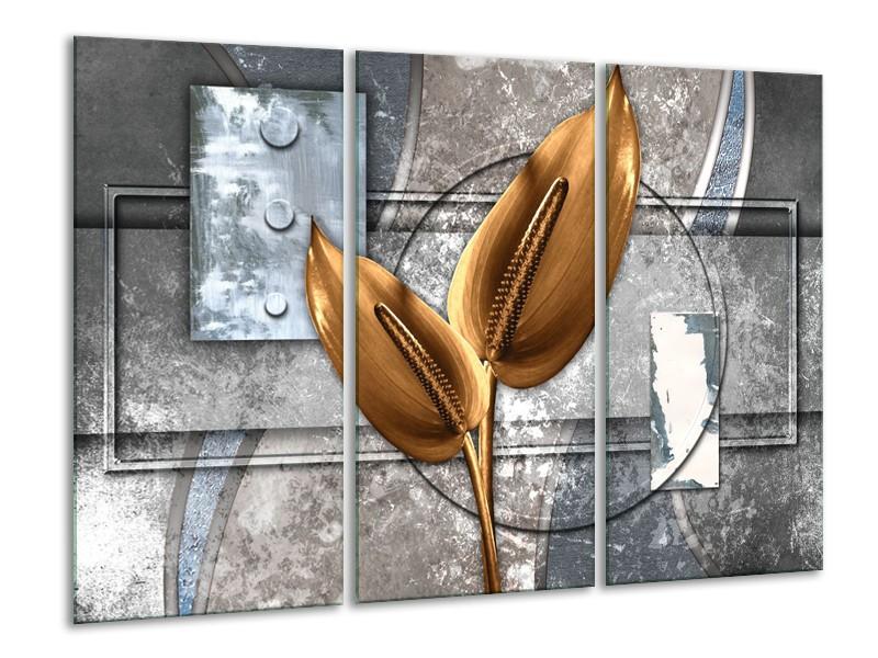 Glasschilderij Modern   Grijs, Goud   120x80cm 3Luik