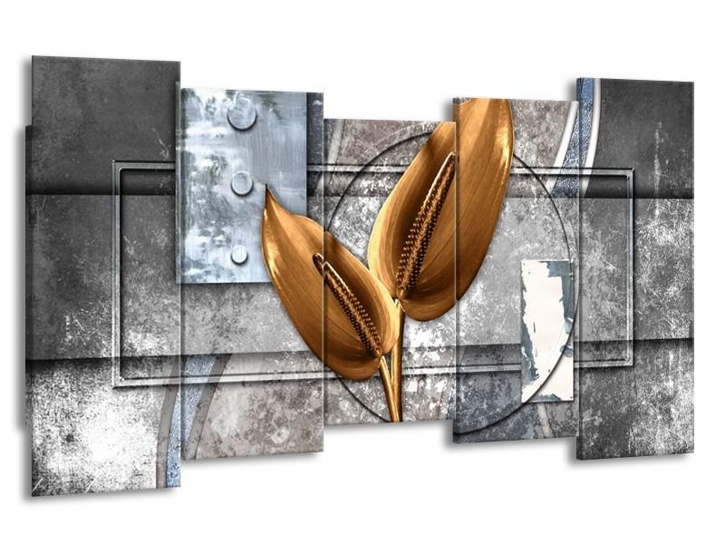 Glasschilderij Modern | Grijs, Goud | 150x80cm 5Luik