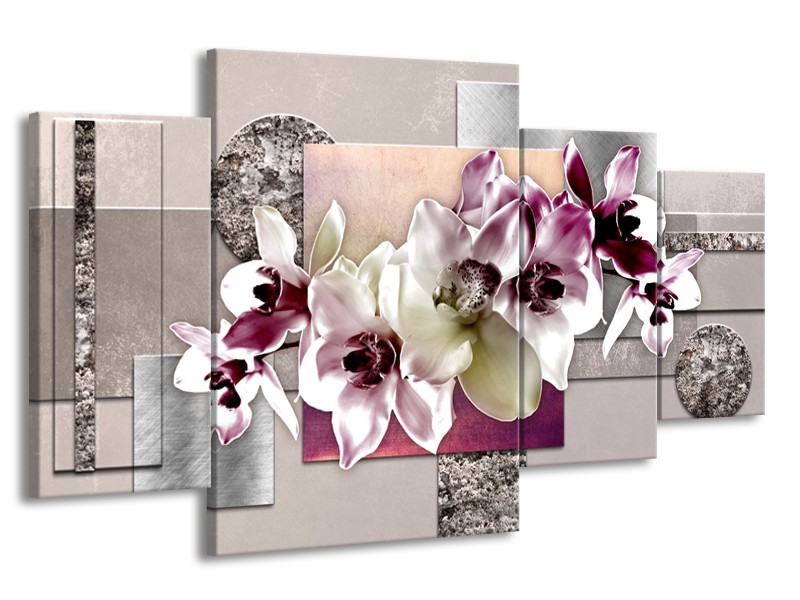 Glasschilderij Orchidee, Bloemen | Paars, Grijs | 160x90cm 4Luik