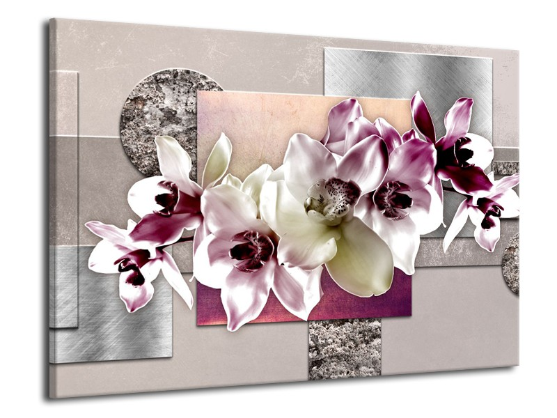 Canvas Schilderij Orchidee, Bloemen   Paars, Grijs   70x50cm 1Luik