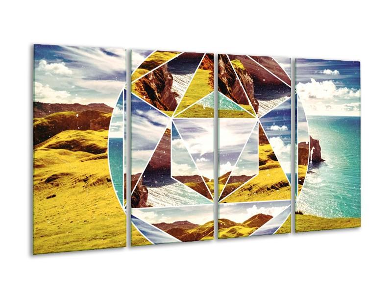 Canvas Schilderij Design   Geel, Turquoise, Bruin   160x80cm 4Luik