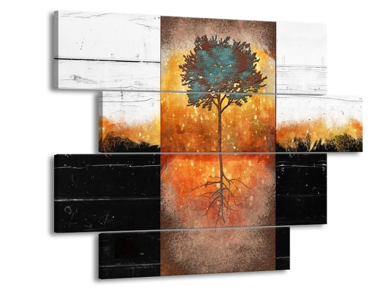 Glasschilderij Boom | Oranje, Zwart, Wit | 115x85cm 4Luik