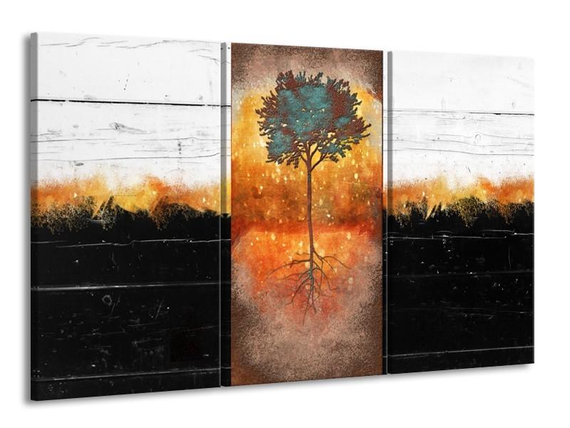 Canvas Schilderij Boom | Oranje, Zwart, Wit | 165x100cm 3Luik