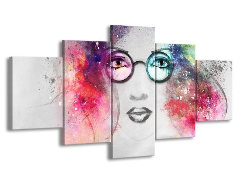 Canvas Schilderij Vrouw   Grijs, Roze   150x80cm 5Luik