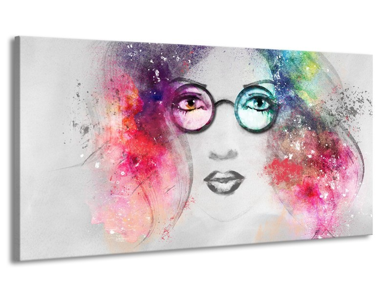 Canvas Schilderij Vrouw | Grijs, Roze | 170x90cm 1Luik