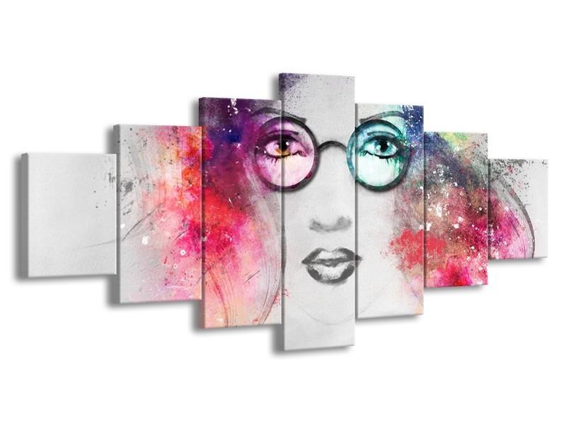 Glasschilderij Vrouw   Grijs, Roze   210x100cm 7Luik