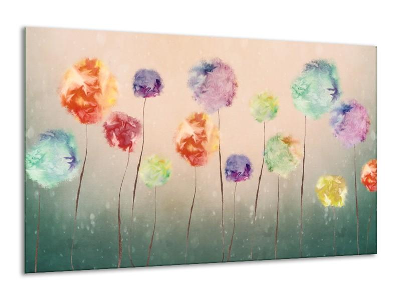 Canvas Schilderij Bloemen | Groen, Crème | 120x70cm 1Luik