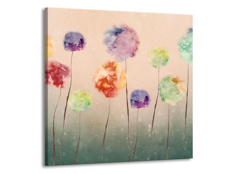 Canvas Schilderij Bloemen   Groen, Crème   50x50cm 1Luik
