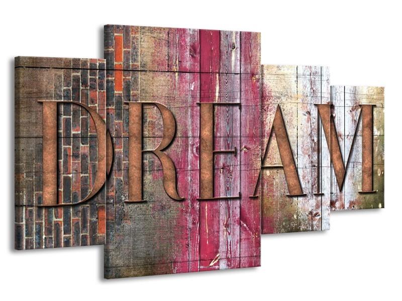 Canvas Schilderij Landelijk, Dream   Grijs, Roze   160x90cm 4Luik