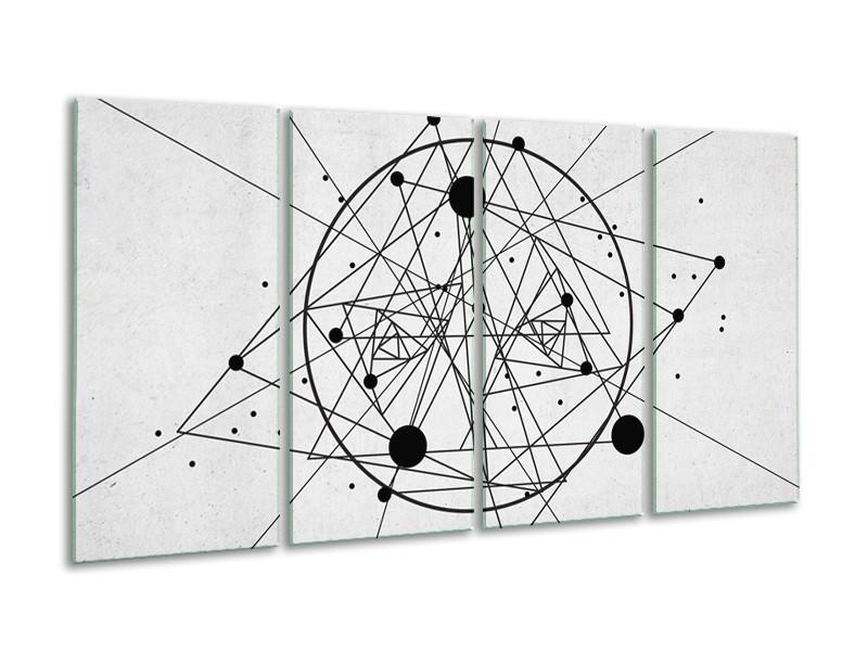 Canvas Schilderij Design   Zwart, Wit   160x80cm 4Luik
