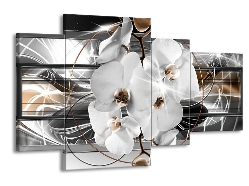 Glasschilderij Orchidee, Bloemen | Zilver, Wit | 120x75cm 4Luik