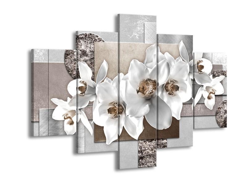 Canvas Schilderij Orchidee, Bloemen   Grijs, Wit   150x105cm 5Luik