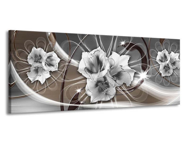 Canvas Schilderij Modern   Grijs, Bruin   145x58cm 1Luik