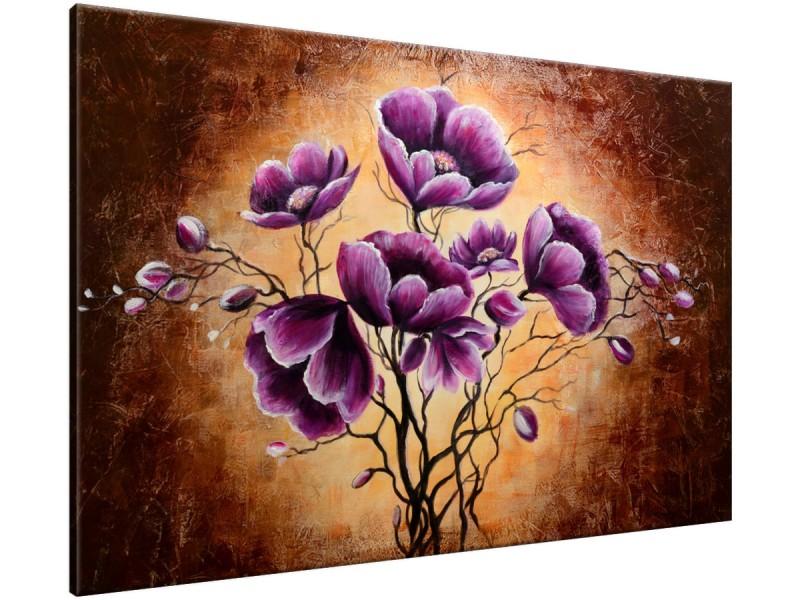 Schilderij handgeschilderd Bloem | Paars , Bruin | 120x70cm 1Luik
