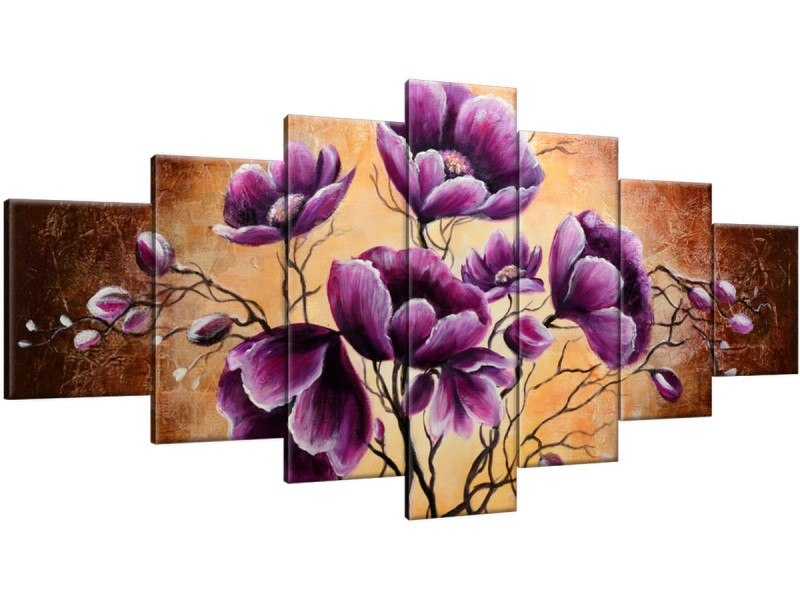 Schilderij handgeschilderd Bloem | Paars , Bruin | 210x100cm 7Luik