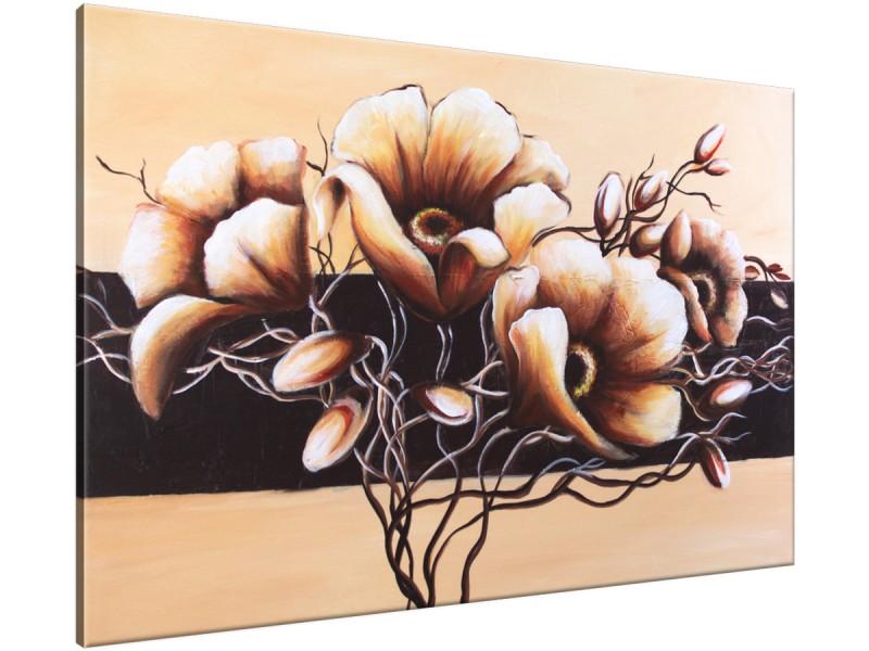 Schilderij handgeschilderd Bloem | Sepia , Bruin | 120x70cm 1Luik