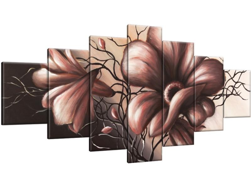 Schilderij handgeschilderd Bloem | Bruin | 210x100cm 7Luik