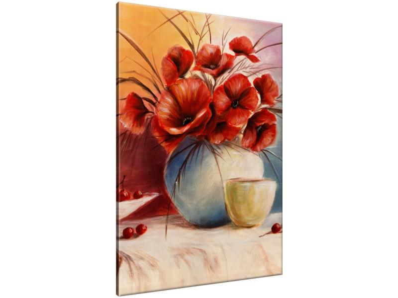 Schilderij handgeschilderd Klaproos | Rood , Oranje , Grijs | 70x120cm 1Luik