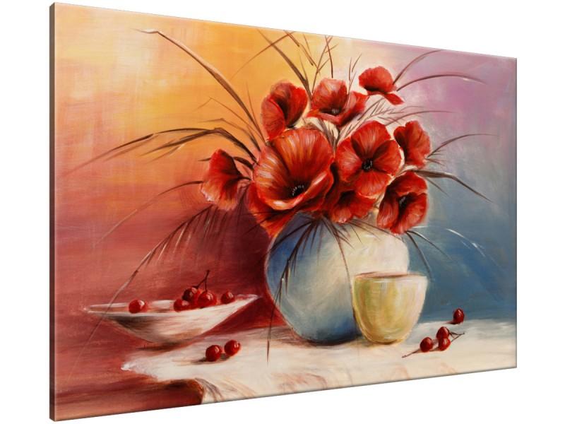 Schilderij handgeschilderd Klaproos | Rood , Oranje , Grijs | 120x70cm 1Luik