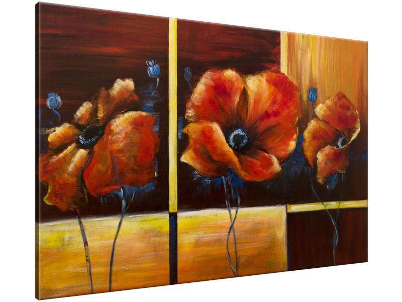 Schilderij handgeschilderd Klaproos | Bruin , Rood , Geel | 120x70cm 1Luik