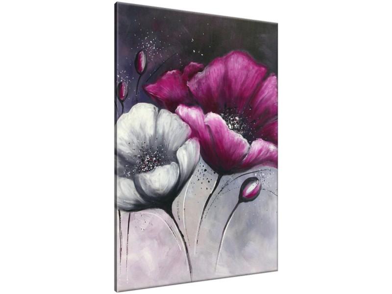 Schilderij handgeschilderd Klaproos | Paars , Grijs | 70x120cm 1Luik